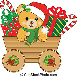 Christmas cart with teddy bear - Scalable vectorial image...