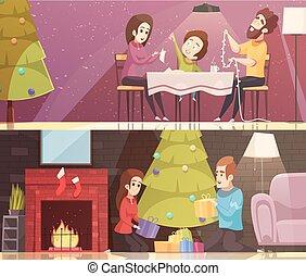 Christmas Cartoon Banners Set
