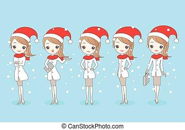 christmas cartoon business woman
