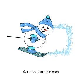 Christmas cartoon character frame - skiing snowman