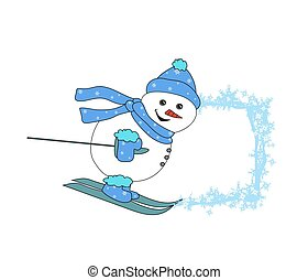 Christmas cartoon character frame - skiing snowman
