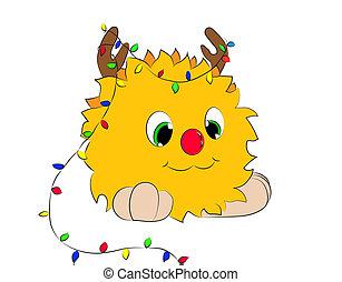 Christmas cartoon character horns garland monster