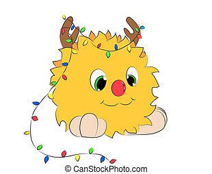 Christmas cartoon character horns garland on a white background