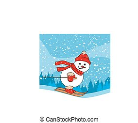 Christmas cartoon character, skiing snowman