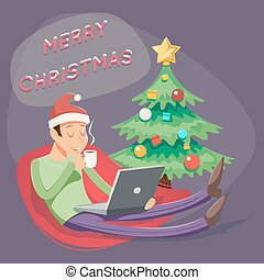 Christmas Cartoon Geek Eager Beaver Symbol Man with Laptop Drinks Coffee Tea Icon Retro Design Vector Illustration