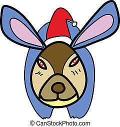 christmas cartoon hand-drawn rabbit
