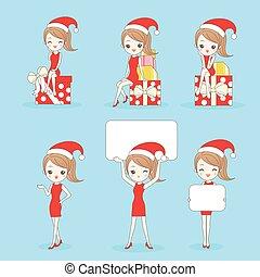 christmas Cartoon happy shopping woman