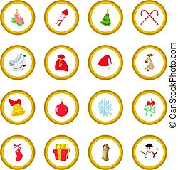 Christmas cartoon icon circle
