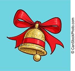 Christmas Cartoon Icon - Golden Glitter Bell