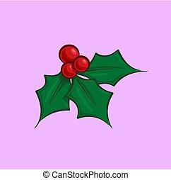 Christmas Cartoon Icon - Holly Mistletoe