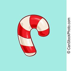 Christmas Cartoon Icon - Red Candy Cane