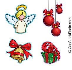 Christmas Cartoon Icon Set - Angel Hanging Balls Bell Gift