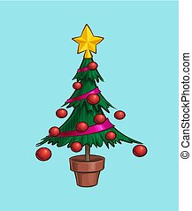Christmas Cartoon Icon - Small Xmas Tree in a Pot