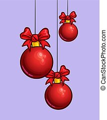Christmas Cartoon Icon - Three Red Hanging Balls