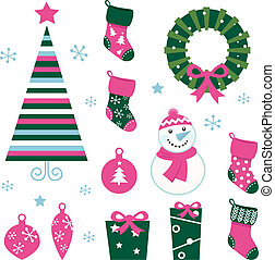 Christmas cartoon icons & elements isolated on white (green, pin