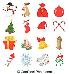Christmas cartoon icons set