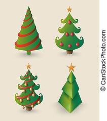 Christmas cartoon pine tree set for decoration