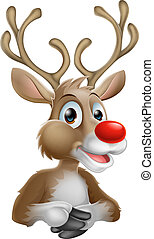 An illustration of a happy cartoon Christmas Reindeer