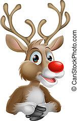 Christmas Cartoon Reindeer - An illustration of a happy...