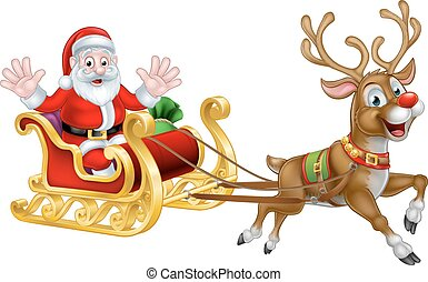 Santa Claus cartoon character in his Christmas sled sleigh with his red nosed reindeer