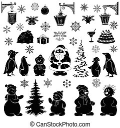 Christmas cartoon, set black silhouettes on white background: Santa Claus, penguins, snowmans and various objects - symbols of the holiday