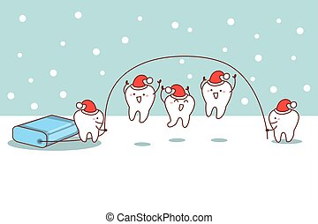 christmas cartoon tooth with floss, great for dental care...