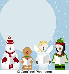 christmas cartoons singing poster