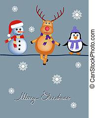 christmas cartoons - snowman, reindeer and penguin cartoon ...