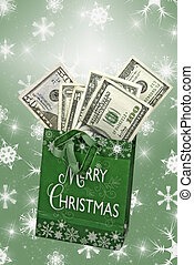 Money in holiday gift bag.