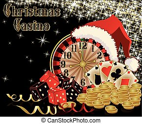 Christmas casino background, vector