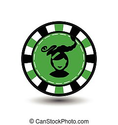 Christmas casino chips. green. Girl Santa Claus with his lips in the middle. Illustration vector. Use for the site, printing, paper, cloth, decoration, design, etc. EPS 10
