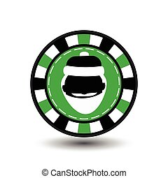 Christmas casino chips. green. Santa Claus is black in the middle. Illustration vector. Use for the site, printing, paper, cloth, decoration, design, etc. 10. EPS on a white background to separate easily
