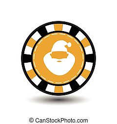 Christmas casino chips. yellow. Claus with his lips in the middle. Illustration vector. Use for the site, printing, paper, cloth, decoration, design, etc. 10. EPS on a white background to separate easily