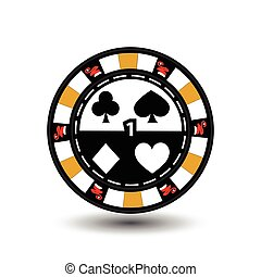 Christmas casino chips. Yellow. Santa cap on the sides and one in the middle number. Illustration vector. Use for the site, printing, paper, cloth, decoration, design, etc. EPS 10