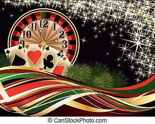 Christmas casino invitation card