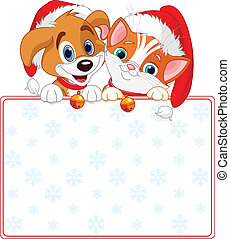 Christmas Cat and dog holding sign (add your own message)