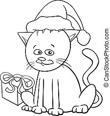 Christmas cat cartoon coloring book