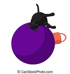 Christmas Cat Illustration - Black cat on a christmas...