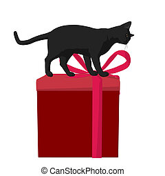 Christmas Cat Illustration - Black cat on a gift box on a...