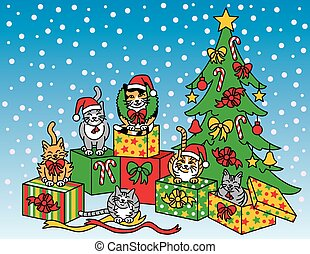 Christmas Cats - Illustration of a group of cats with gifts...