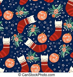 Christmas cats seamless vector background with kittens in stockings, flowers. Repeating holiday pattern blue red white green. Scandinavian style for kids fabric, decor, packaging, gift wrap.