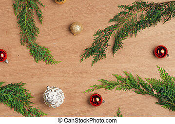Christmas cecorating elements. Flat layout composition with copy space