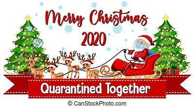 Christmas celebrating during covid illustration