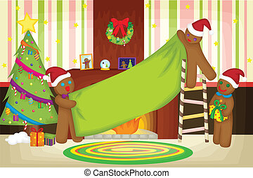 Christmas celebration - A vector illustration of gingerbread...