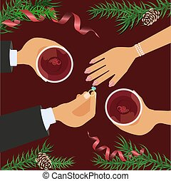 Christmas celebration and betrothal. Xmas amorous date theme...