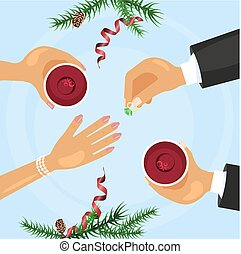 Christmas celebration and betrothal ring. Xmas amorous...