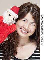 Christmas celebration by asian woman
