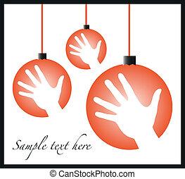 Christmas celebration hand baubles. - Christmas celebration...