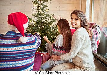 Christmas celebration in the living room