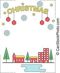Christmas celebration line style illustration